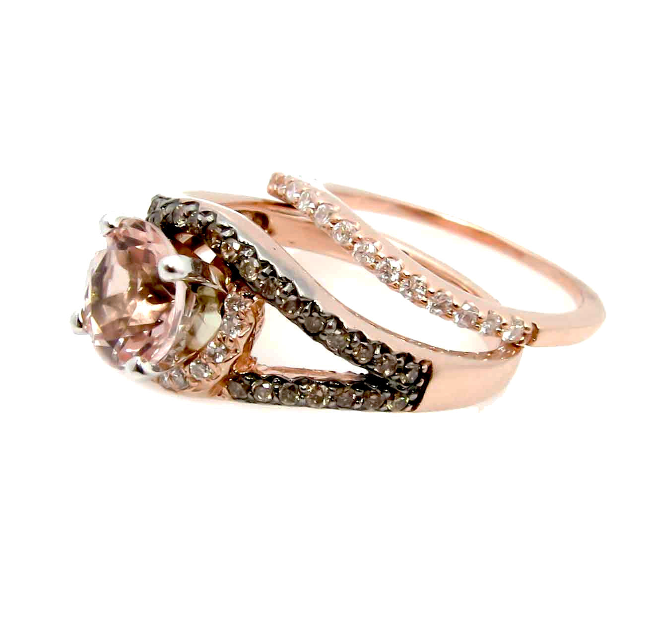 Unique 1 Carat Morganite Floating Halo Rose Gold Engagement Ring With .27 Carat White & Brown Diamonds, Split Shank - MG94648ER