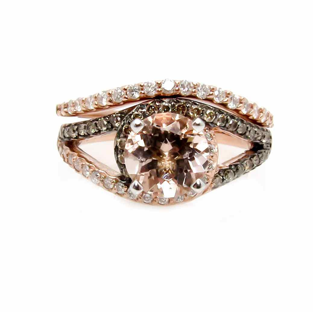 1 Carat Morganite Floating Halo Rose Gold Engagement And Wedding Set With .46 Carat White & Fancy Brown Diamonds, Split Shank - MG94648