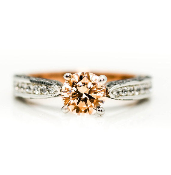 Rose Gold, White & Fancy Color Brown Diamonds, 1.0 Morganite Engagement Solitaire, Anniversary Ring - MG94614