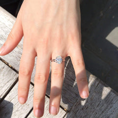 Unique 2 Carat Oval Forever One Moissanite Engagement Ring Twisted Shank - OFBV002