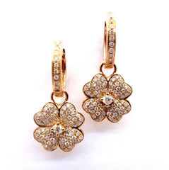 Rose Gold & Diamond Four-Leaf Clover Dangle Earrings