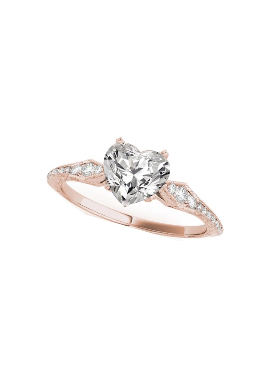 Special Order For William: Moissanite Engagement Ring, Unique Solitaire 2 Carat Heart Shaped NEO Moissanite Center Stone & About .45 Carat Diamonds - FBHSW001E