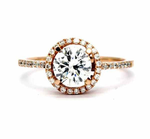 Rose Gold Moissanite Engagement Ring, Unique Floating Halo With 1 Carat Forever One / Brilliant Moissanite & .20 Carat Diamonds, Anniversary Ring - FB85037