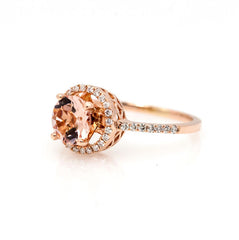 Rose Gold Morganite Engagement Ring, Unique Floating Halo With 1 Carat Morganite & .20 Carat Diamonds, Anniversary Ring - MG85037