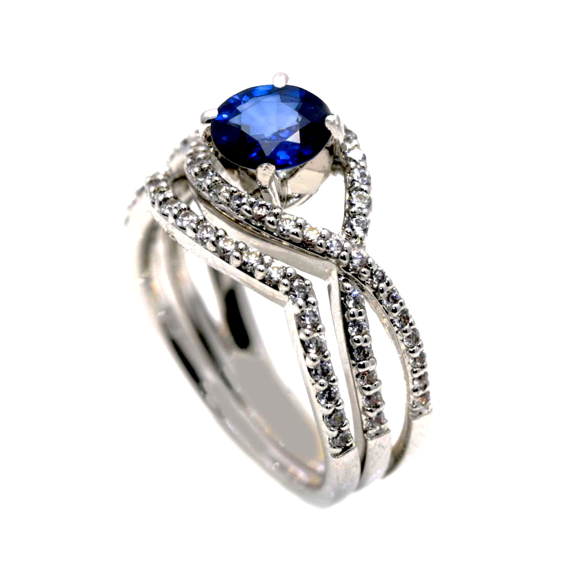 Blue Sapphire Gemstone Engagement Ring & Wedding Set, Unique Infinity Style With .75 Carat Diamonds, Split Shank  - SP85040