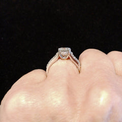 Unique 1.5 Carat Forever One Moissanite Engagement Ring With .5 Carat White Diamonds, Split Shank - FB15JRBS3073ER