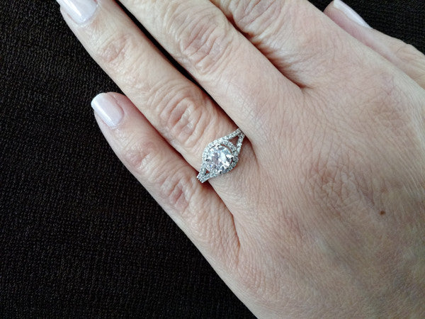 Unique Semi Mount For 1 Carat (6.5 mm) Center Stone Floating Halo Engagement Ring With .45 Carat White Diamonds, Split Shank - Y11560