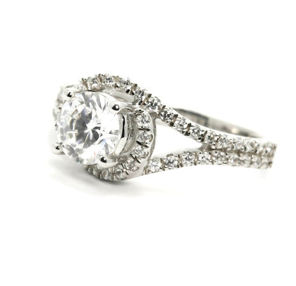 Unique 1 Carat (6 mm) Forever Brilliant Moissanite Floating Halo Engagement Ring With .45 Carat White Diamonds, Split Shank - FBY11560
