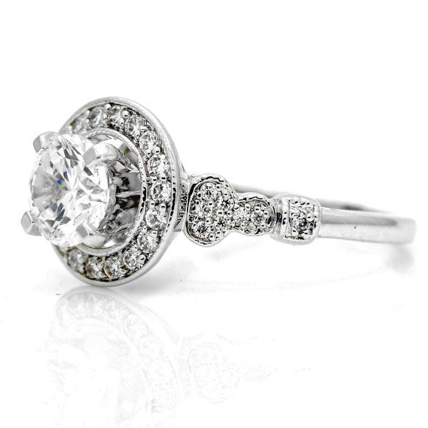 Unique Semi Mount For 1 Center Stone & .35 Carat Diamond Engagement Ring, Anniversary Ring, Floating Halo, Unique Art Deco Style - 73085