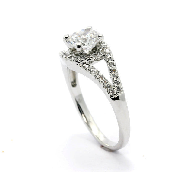 Unique 1 Carat Forever One / Brilliant Moissanite Floating Halo Engagement Ring With .25 Carat White Diamonds, Split Shank - FB85028ER