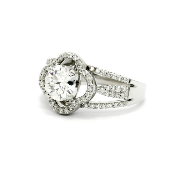 Unique Clover Shaped Floating Halo Engagement Ring, 1 Carat Forever Brilliant Moissanite & .35 Carat Diamond Accent Stones, Anniversary Ring - FB73096
