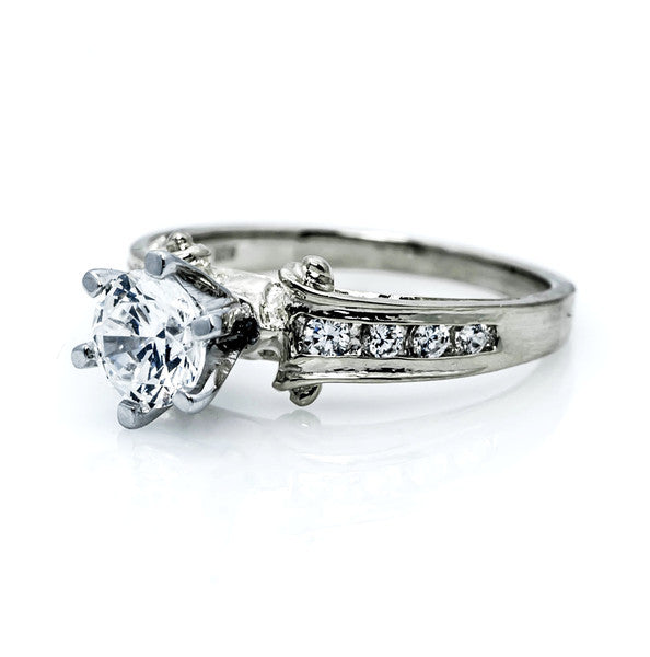 "Unique Diamond Engagement Ring With 1 Carat  ""Forever Brilliant"" Moissanite And .34 Carats Of Diamonds, Anniversary Ring - FBY1172"