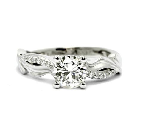 "Unique Diamond Engagement Ring With 1 Carat  ""Forever One"" Moissanite And 0.09 Carats Of Diamonds, Anniversary Ring - FBY11666SE"
