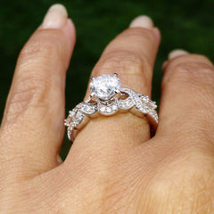 Unique Double Infinity Moissanite Engagement Ring, 1 Carat Forever Brilliant Moissanite Center with .45 Carat Diamonds, Anniversary Ring - FB73039