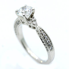 Unique Solitaire Forever Brilliant Moissanite Engagement Ring with 1 Carat Forever Brilliant Moissanite & .35 Carat Diamonds - FB76299