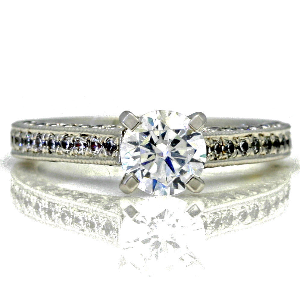 "Diamond Engagement Ring With 1 Carat  ""Forever Brilliant"" Moissanite And 0.75 Carats Of Diamonds, Anniversary Ring - FB73764"