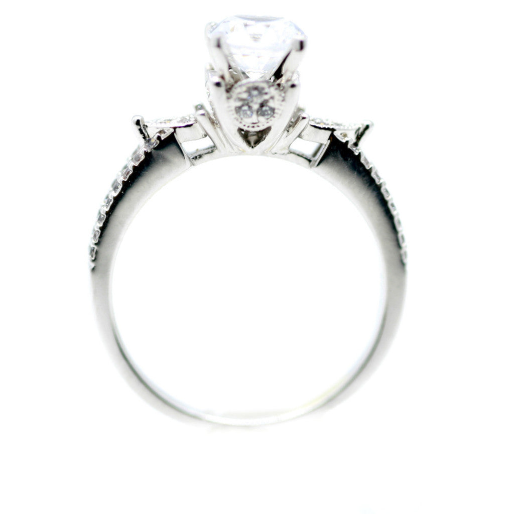 Semi Mount For 1 Carat Forever Brilliant Moissanite, Engagement Ring,14k White Gold, Rose Gold,Yellow Gold,18k Gold,Platinum - 85048