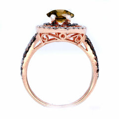 1 Carat Chocolate Brown Smoky Quartz Floating Halo Rose Gold Engagement Ring, White & Brown Diamond Accent Stones, Anniversary Ring - SQ94612