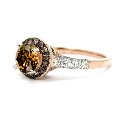 Chocolate Brown Smoky Quartz Engagement Ring, Unique 1 Carat Floating Halo Rose Gold, White & Chocolate Color Brown Diamonds - SQ94641