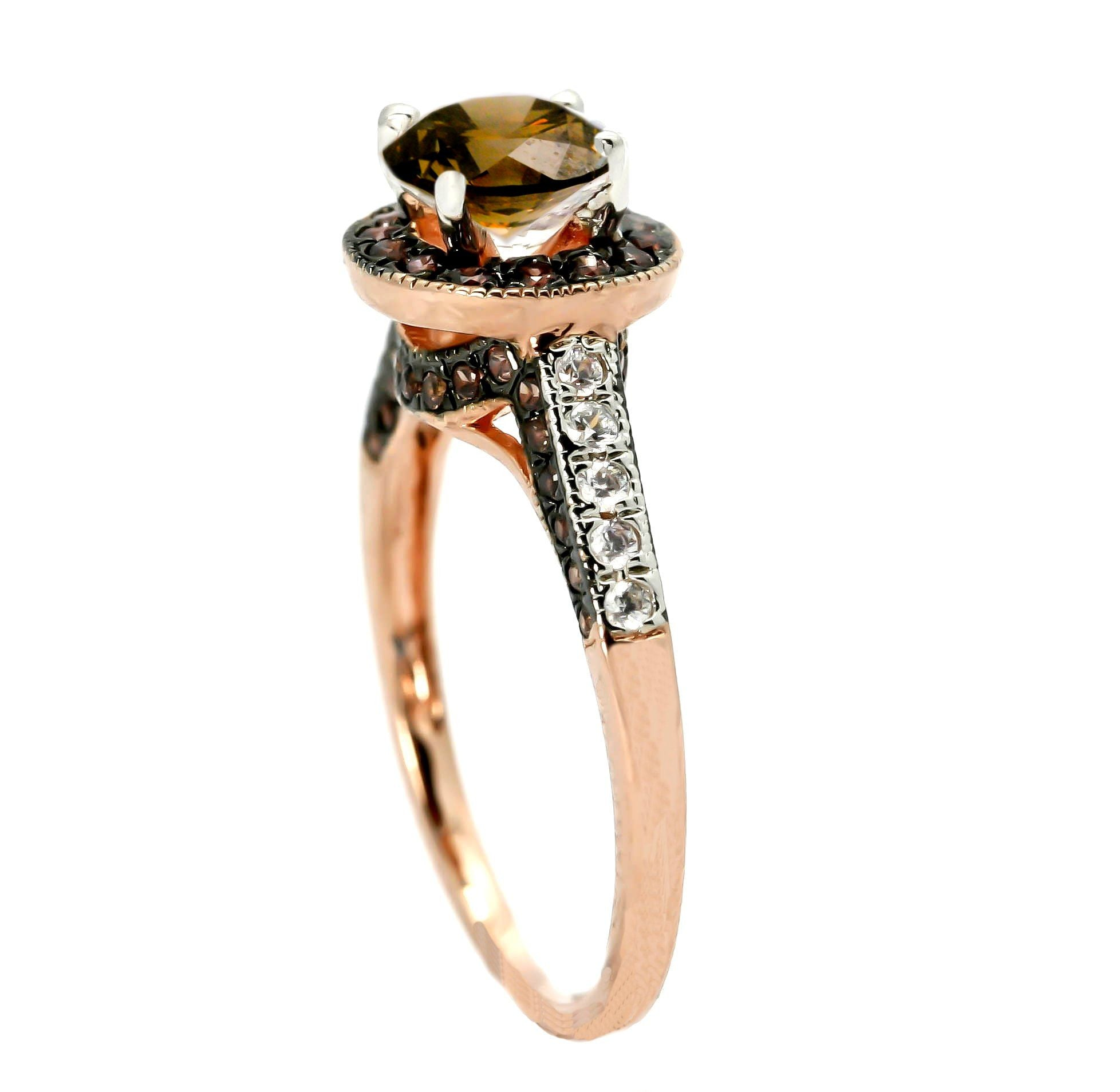 Fancy Brown Diamond Engagement Ring, Unique 1 Carat Floating Halo Rose Gold, White & Fancy Color Brown Diamonds - BD94641