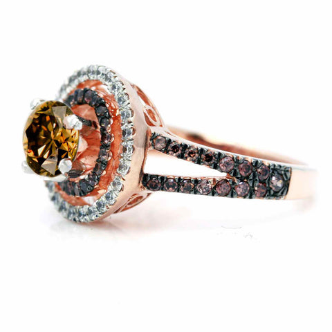 1 Carat Fancy Brown Smoky Quartz Floating Halo Rose Gold Engagement Ring, White & Brown Diamond Accent Stones, Anniversary Ring - SQ94612