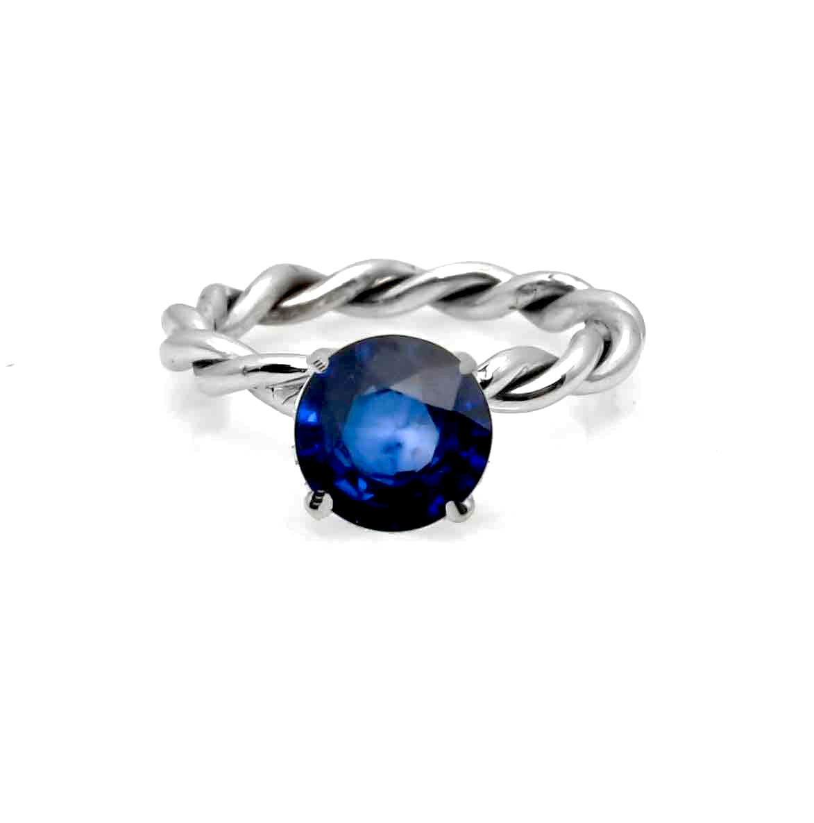 Unique Hand Twisted Cable Rope Engagement Ring and with 1.4 Carat Blue Sapphire Gemstone, 14k White Gold, Stacking Ring - SP14ROP25ER
