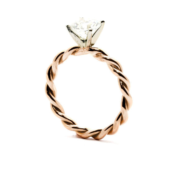 Unique Hand Twisted Cable Rope Diamond Engagement Ring and with .75 Carat GIA Certified Diamond 14k Rose Gold, 14k Yellow Gold, 14k White Gold - 75WDROP25ER