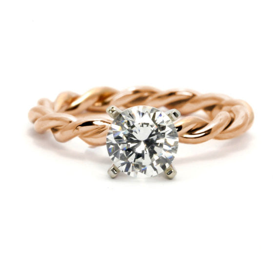 Unique Hand Twisted Cable Rope Engagement Ring with 2 Carat Forever One Moissanite,14k Rose Gold, 14k Yellow Gold, 14k White Gold, Stacking Ring - FB2ROP25ER