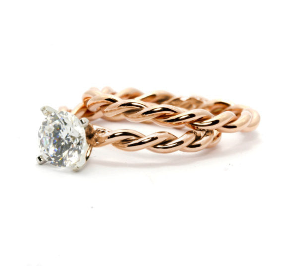 Unique Hand Twisted Cable Rope Engagement Ring and Wedding Band Set with 1 Carat Forever Brilliant Moissanite,14k Rose Gold, 14k Yellow Gold, 14k White Gold, Stacking Ring, Wedding Set - FBROP25