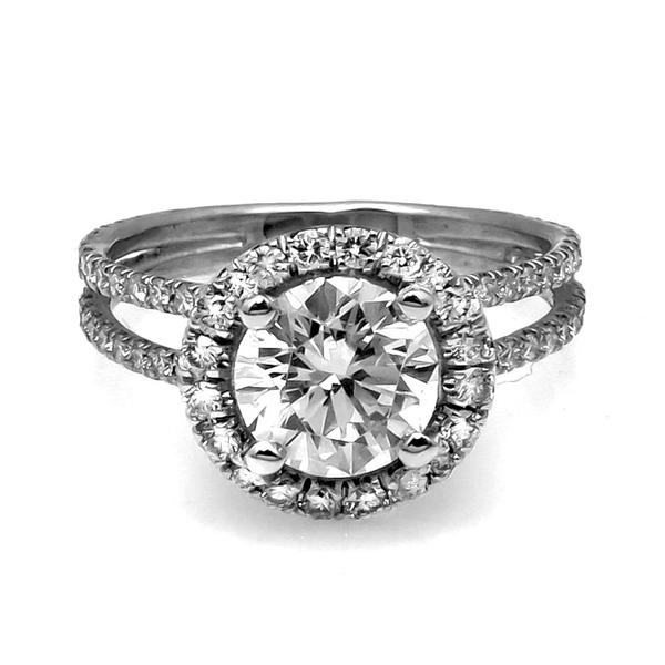 14k White Gold Floating Halo Diamond Engagement Ring for 1.5 Carat Stone, Double Shank, Semi Mount - R001