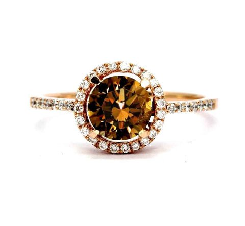 1 Carat Chocolate Brown Smoky Quartz Halo Ring, With White Diamond Accent Stones, Rose Gold, Engagement Ring Anniversary Ring - SQ85037