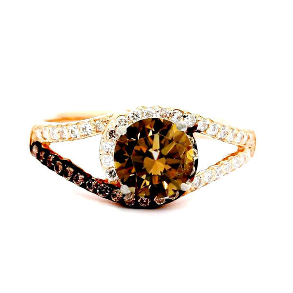 Unique 1 Carat Fancy Color Brown Diamond Floating Halo Rose Gold, White & Brown Diamond Engagement Ring, Split Shank, Anniversary Ring - BD94618ER