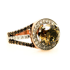 Unique 2 Carat (8 mm) Brown Diamond Engagement Ring, Floating Halo Rose Gold, White & Brown Diamonds, Anniversary Ring - 2BD94627