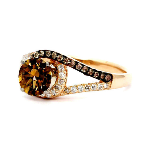 Unique 1 Carat Chocolate Color Brown Diamond Floating Halo Rose Gold, White & Brown Diamond Engagement Ring, Split Shank, Anniversary Ring - BD94618ER