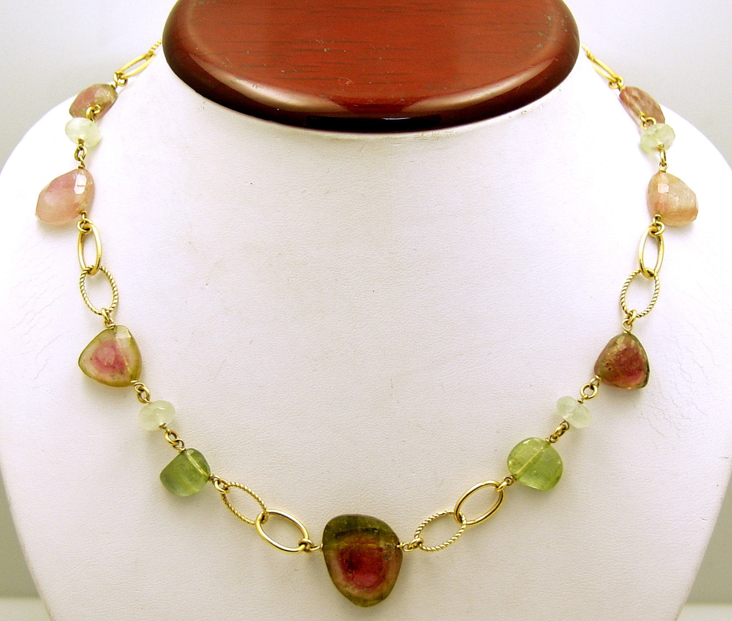 Natural-Cut Watermelon Tourmaline Necklace