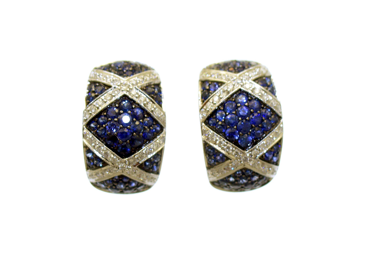 Blue Sapphire and Diamond Huggie Earrings