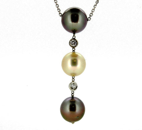 10mm  BlackTahitian & Akoya Pearl with Diamonds Pendant, Lustrous 3-Pearl Trio