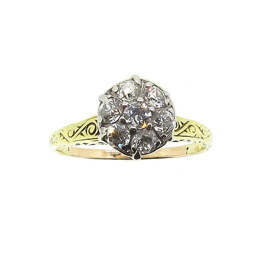 Vintage Look Diamond Engagement Ring