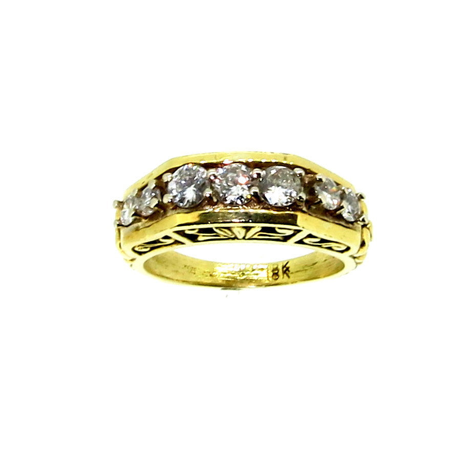 Vintage Look 0.85 Carat 7-Diamond Wedding Band