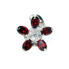 "Garnet Gemstone & Diamond ""Flower"" Cocktail Ring"