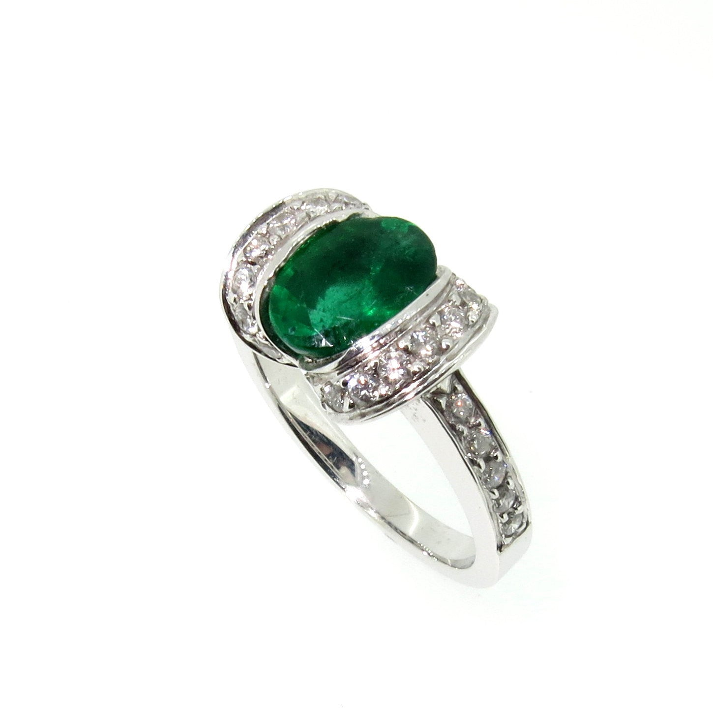 Vintage Style Emerald & Diamond Engagement/Cocktail Ring, Art Deco, Gemstone Engagement, Alternative Engagement Ring