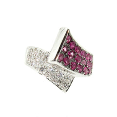 Pink Sapphire Gemstone & Diamond Pavé Cocktail Ring, Unique Statement Ring