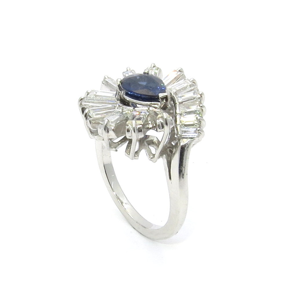 Blue Sapphire Gemstone & Diamond Engagement Ring in Platinum, Gemstone Engagement, Cocktail Ring, Alternative Engagement Ring