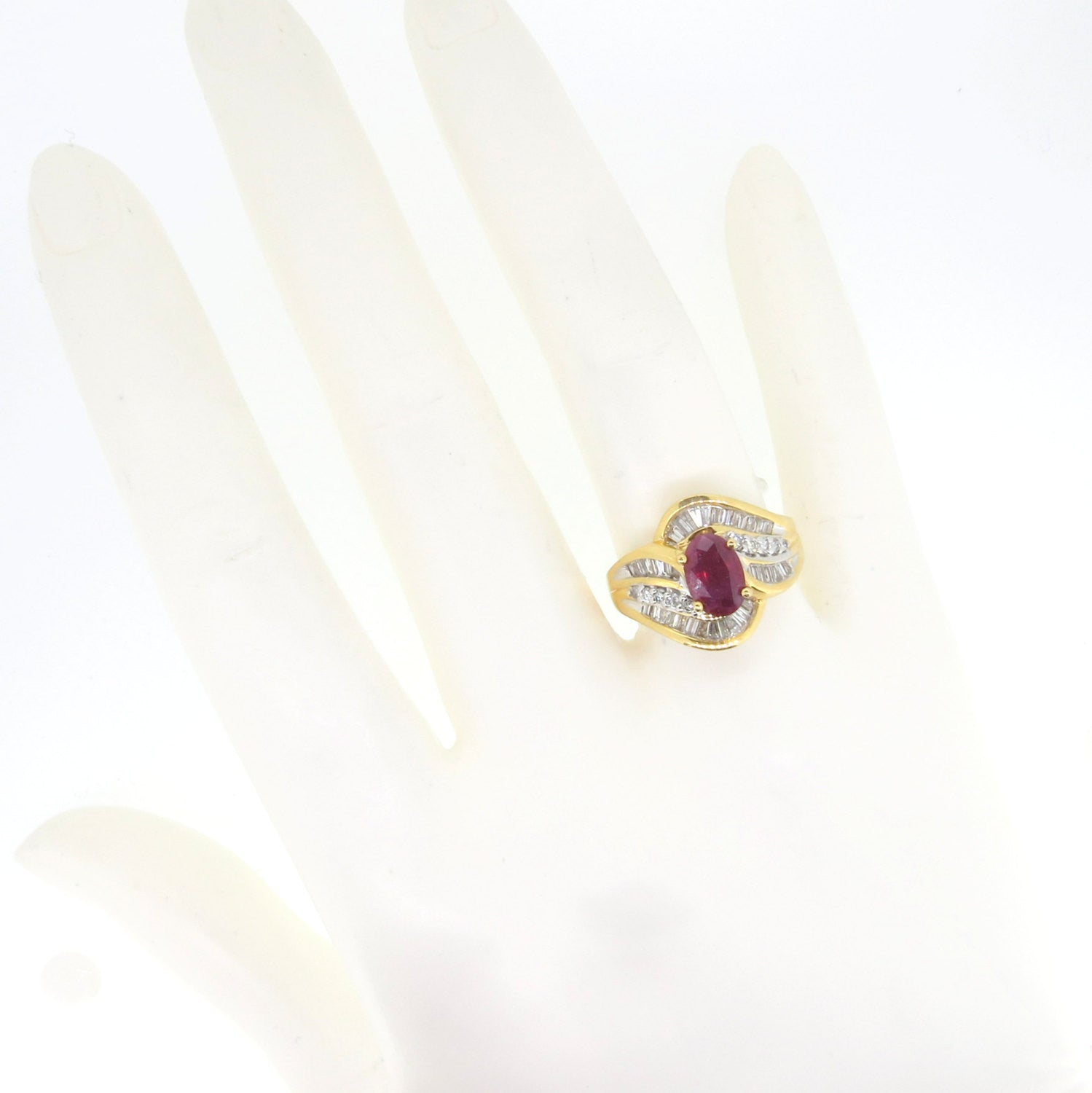 Ruby & Diamond Gemstone Engagement Ring, Anniversary Ring, Cocktail Ring