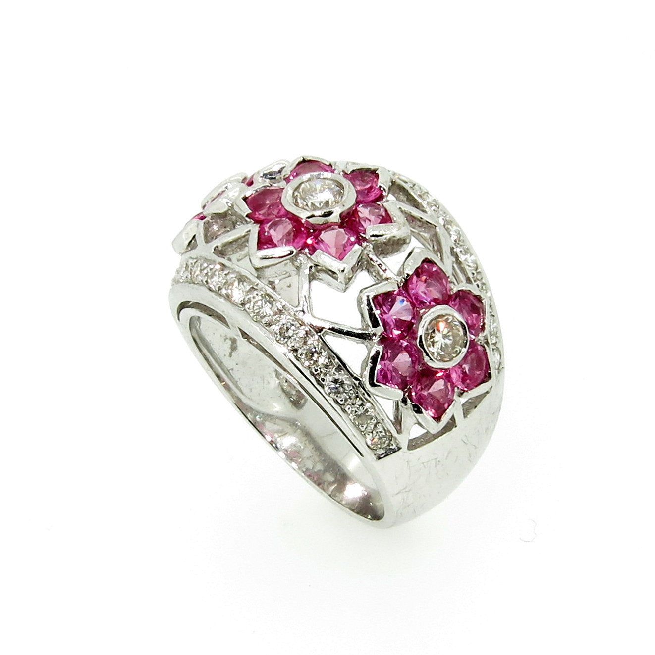 "Pink Sapphire Gemstone & Diamond ""Flowers"" Cocktail Ring, Bombé Ring"