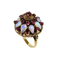 Vintage Opal & Ruby Gemstone Cocktail Ring