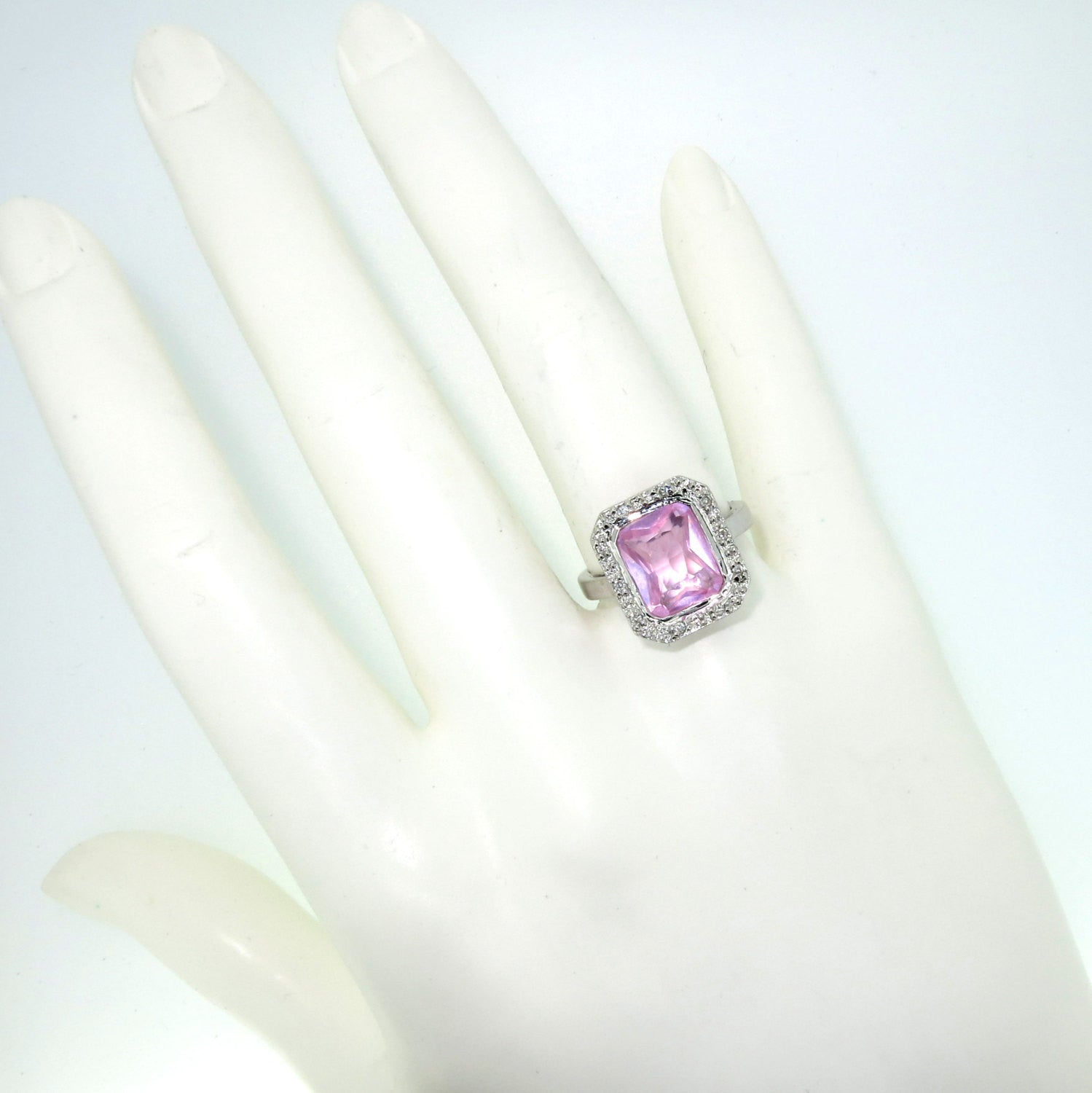 Pink Quartz & Diamond Engagement Ring, Gemstone Ring, Anniversary Ring, Cocktail Ring