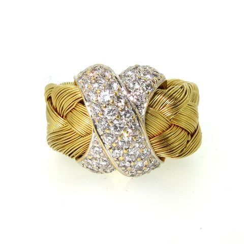 Basket Weave 18K Gold & Pavé, Diamond Engagement Ring, Cocktail Ring.