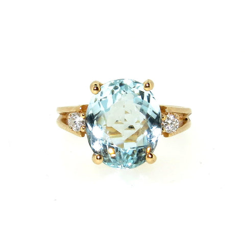 SALE! Aquamarine Gemstone & Diamond Cocktail Ring, Engagement Ring