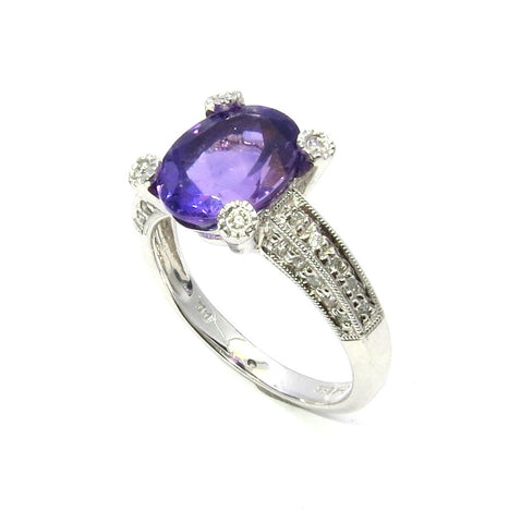 Amethyst & Diamond Engagement Ring, Anniversary Ring, Cocktail Ring, Gemstone Engagement Ring.